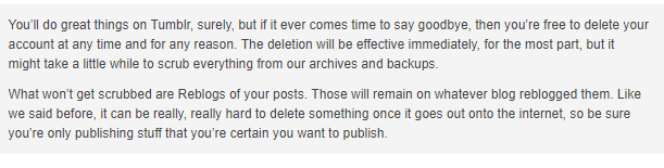 Tumblr Privacy Policy: Delete account clause