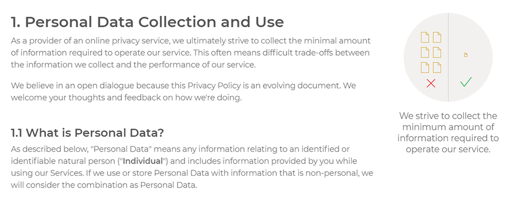 TunnelBear Privacy Policy: Personal Data Collection and Use - What is Personal Data clause