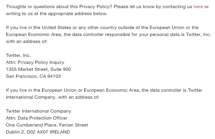 Twitter Platform Policy: Contact information clause