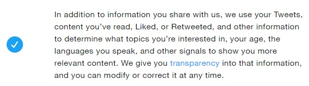 Twitter Privacy Policy: How information is used clause