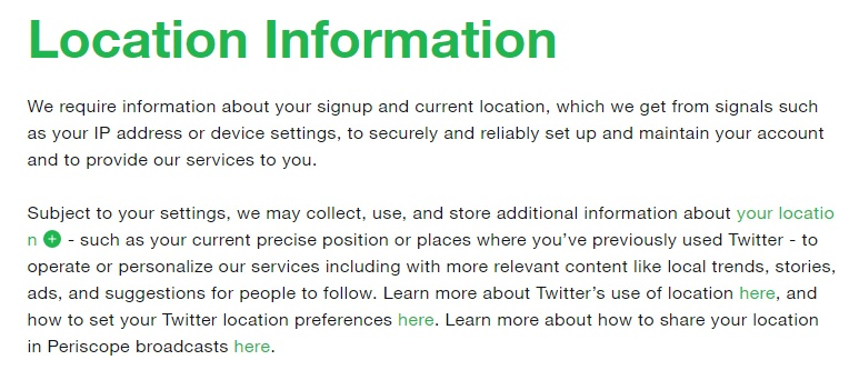 Twitter Privacy Policy: Location Information