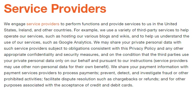 Twitter Privacy Policy: Service Providers clause
