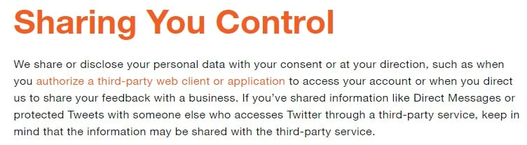 Twitter Privacy Policy: Sharing You Control clause excerpt