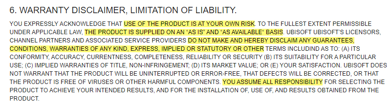 Ubisoft EULA: Warranty Disclaimer Limitation of Liability clause excerpt