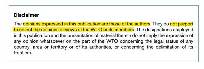 WTO Opinions Expressed disclaimer