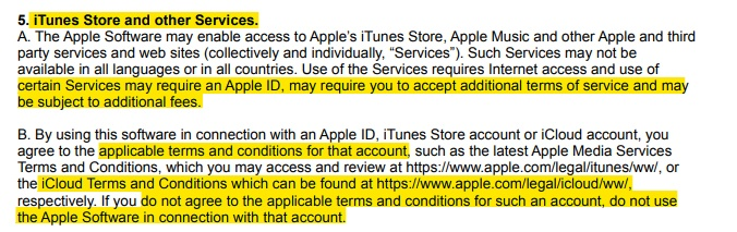 Apple EULA: iTunes Store and Other Services clause - Terms and Conditions section