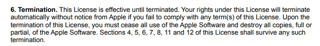 Apple EULA: Termination clause