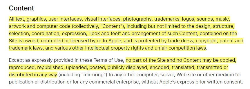 Apple Terms of Use: Content clause excerpt
