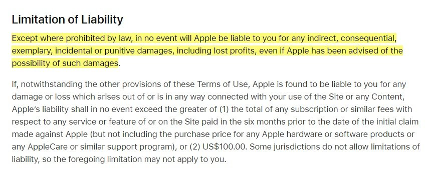 Apple Terms of Use: Limitation of Liability clause