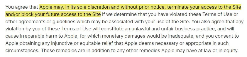 Apple Terms of Use: Violation and account termination clause excerpt