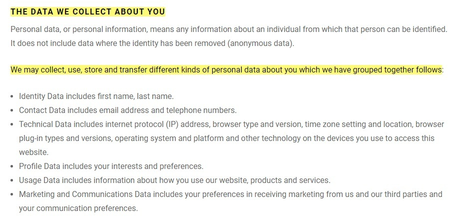 ARCH Motorcycle Privacy and Terms: Data we collect about you clause
