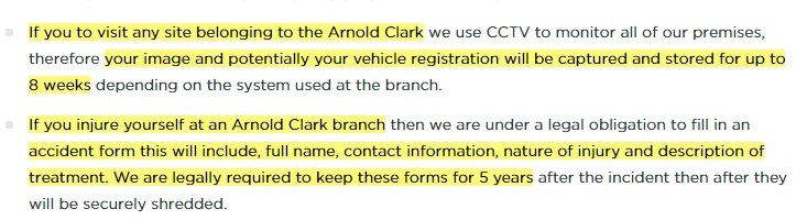 Arnold Clark Privacy Policy: Information we collect, why, and how we use it clause excerpt