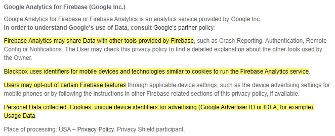 Black Box Puzzles Privacy Policy: Google Analytics for Firebase clause