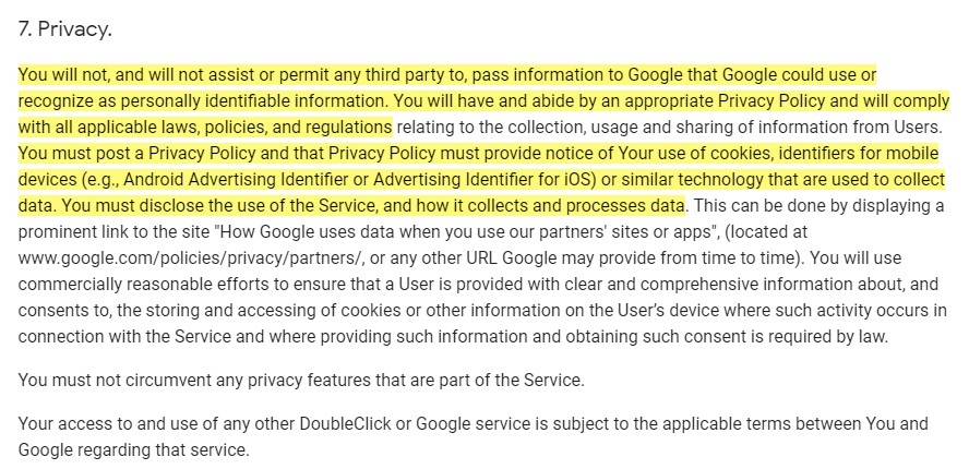 Google Analytics for Firebase Terms of Service: Privacy clause