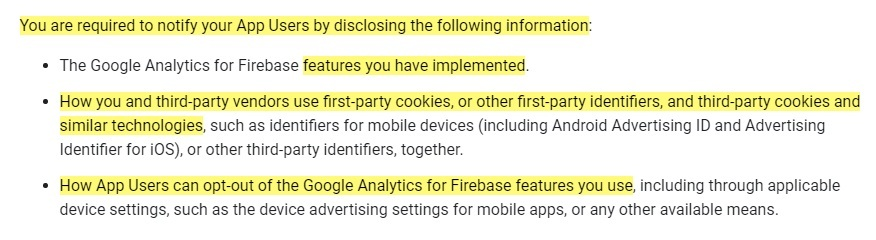 Google Analytics for Firebase Use Policy: Required notification clause