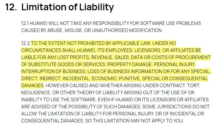Huawei EULA: Limitation of Liability clause excerpt