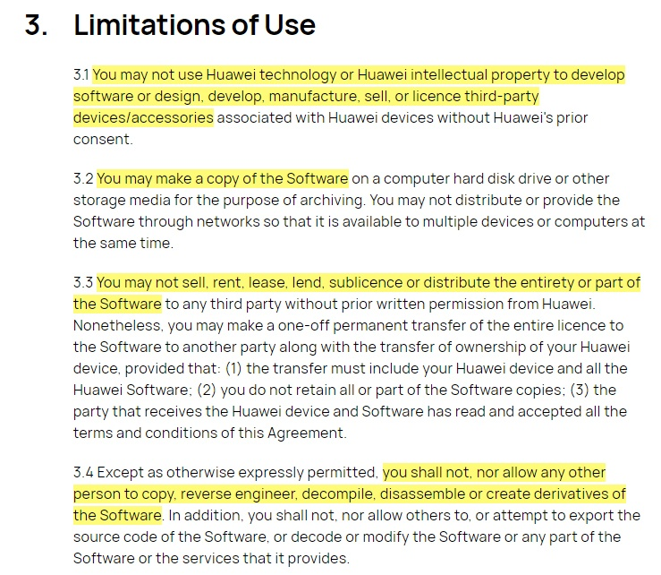 Huawei EULA: Limitations of Use clause