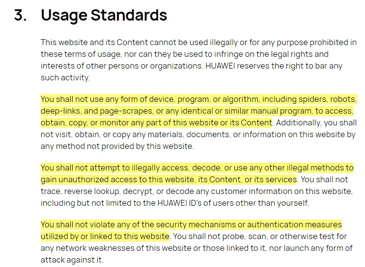 Huawei Terms of Use: Usage Standards clause excerpt