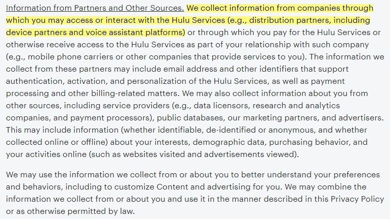 Hulu Privacy Policy: Information from Partners and Other Sources clause