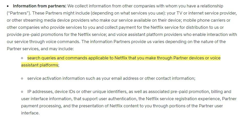 Netflix Privacy Statement: Information from Partners clause