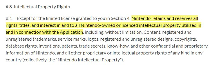 Nintendo Animal Crossing User Agreement: Intellectual Property Rights clause excerpt