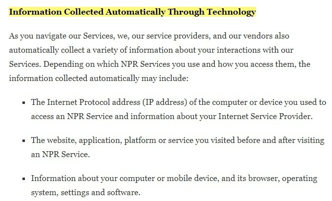 NPR Privacy Policy: Information Collected Automatically Through Technology