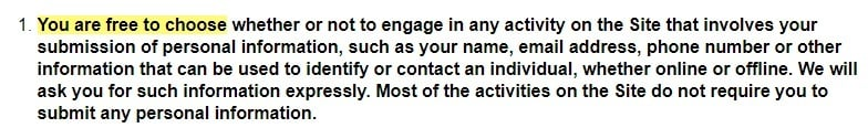 Oscar the Grouch Privacy Policy: Free to choose to submit personal information section