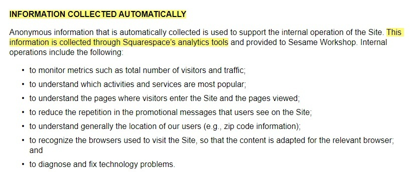 Oscar the Grouch Privacy Policy: Information collected automatically - Squarespace analytics clause