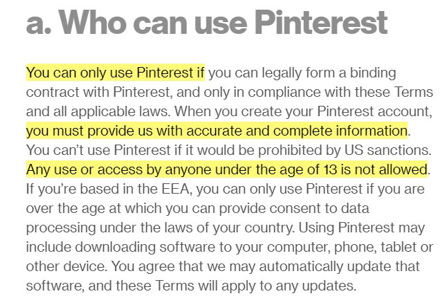 Pinterest Terms of Service: Who can use Pinterest clause