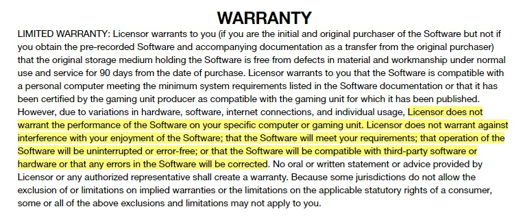 Rockstar Games EULA: Warranty clause excerpt