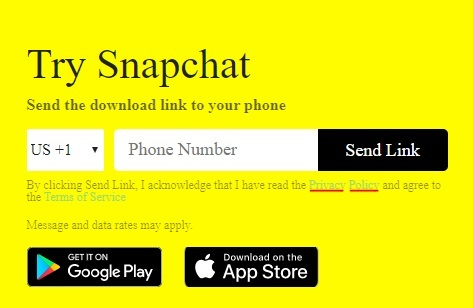 Snapchat Send Download Link form with Privacy Policy highlighted