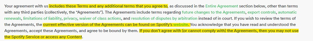 Spotify EULA: Introduction clause - Other agreements section