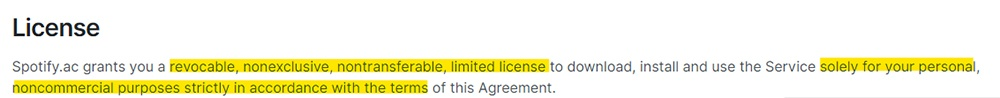 Spotify EULA: License clause