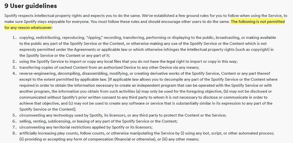 Spotify Terms and Conditions: User Guidelines clause excerpt