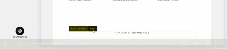 Squarespace backend with Edit Footer Content button highlighted