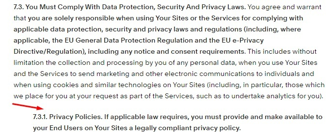 Squarespace Terms of Service: Comply with Data Protection Laws clause - Privacy Policy requirement