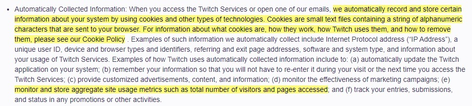 Twitch Privacy Notice: Automatically Collected Information clause with cookies information highlighted