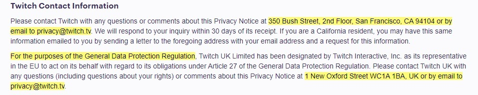 Twitch Privacy Notice: Twitch Contact Information clause