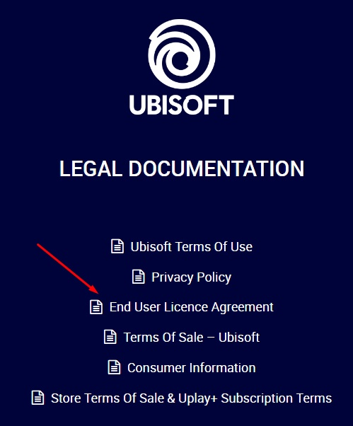 Ubisoft Legal Documentation with EULA highlighted