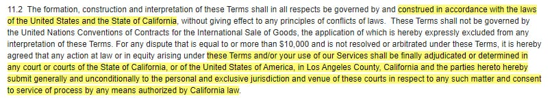 Ubisoft Terms of Use: Governing law and jurisdiction clause
