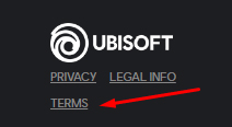 Ubisoft website footer with Terms highlighted