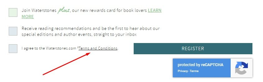 Waterstones Register form with Agree to Terms and Conditions highlighted