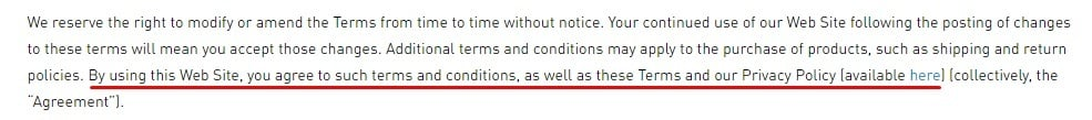 Adidas Terms and Conditions: Introduction clause with Privacy Policy link highlighted