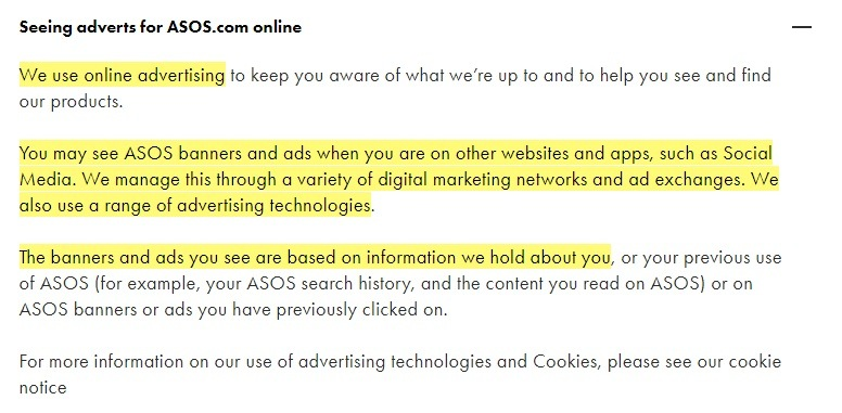 ASOS Privacy and Cookies Policy: Seeing adverts for ASOS online clause