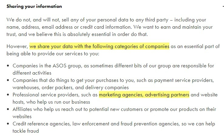ASOS Privacy and Cookies Policy: Sharing your information - Third parties clause
