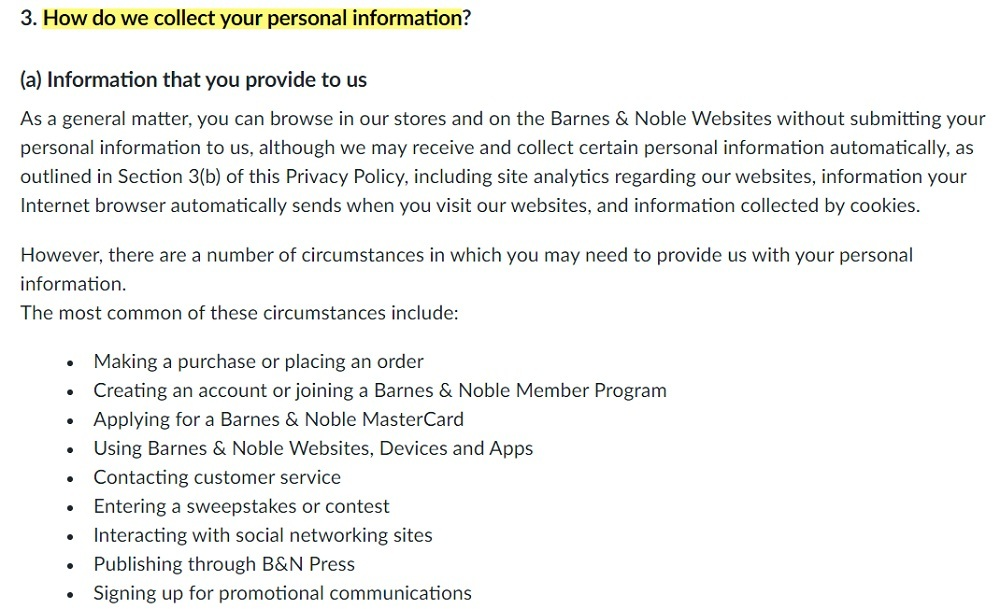 Barnes and Noble Privacy Policy: How do we collect your personal information clause - Information you provide to us section