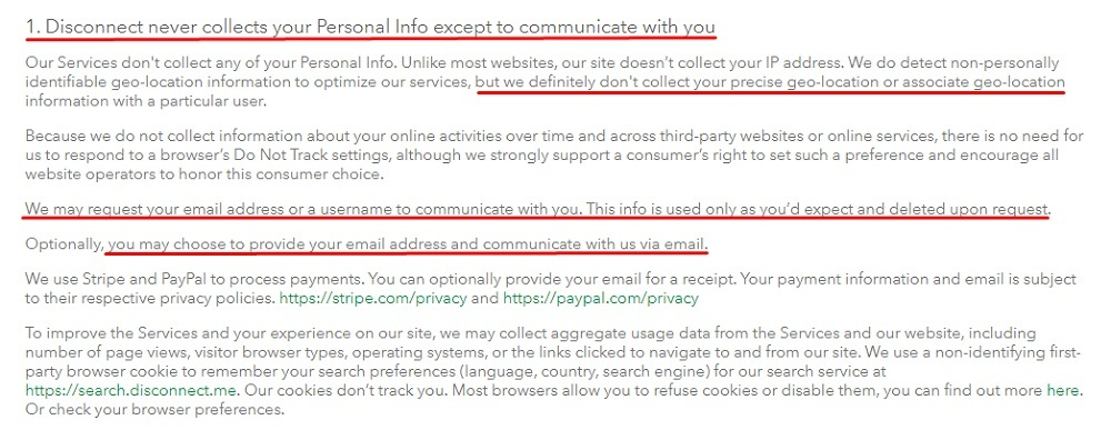 Disconnect Privacy Policy: Disconnect never collects your personal info except to communicate with you clause