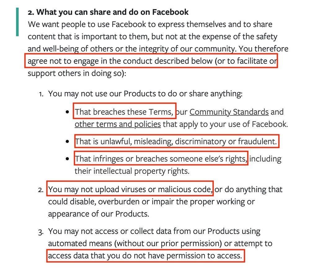 Facebook Terms of Service: What you can share and do on Facebook clause