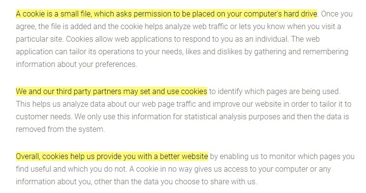 FLEO Privacy Statement: Cookies clause