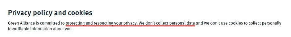 Green Alliance Privacy Policy and Cookies: Intro clause about not collecting personal data
